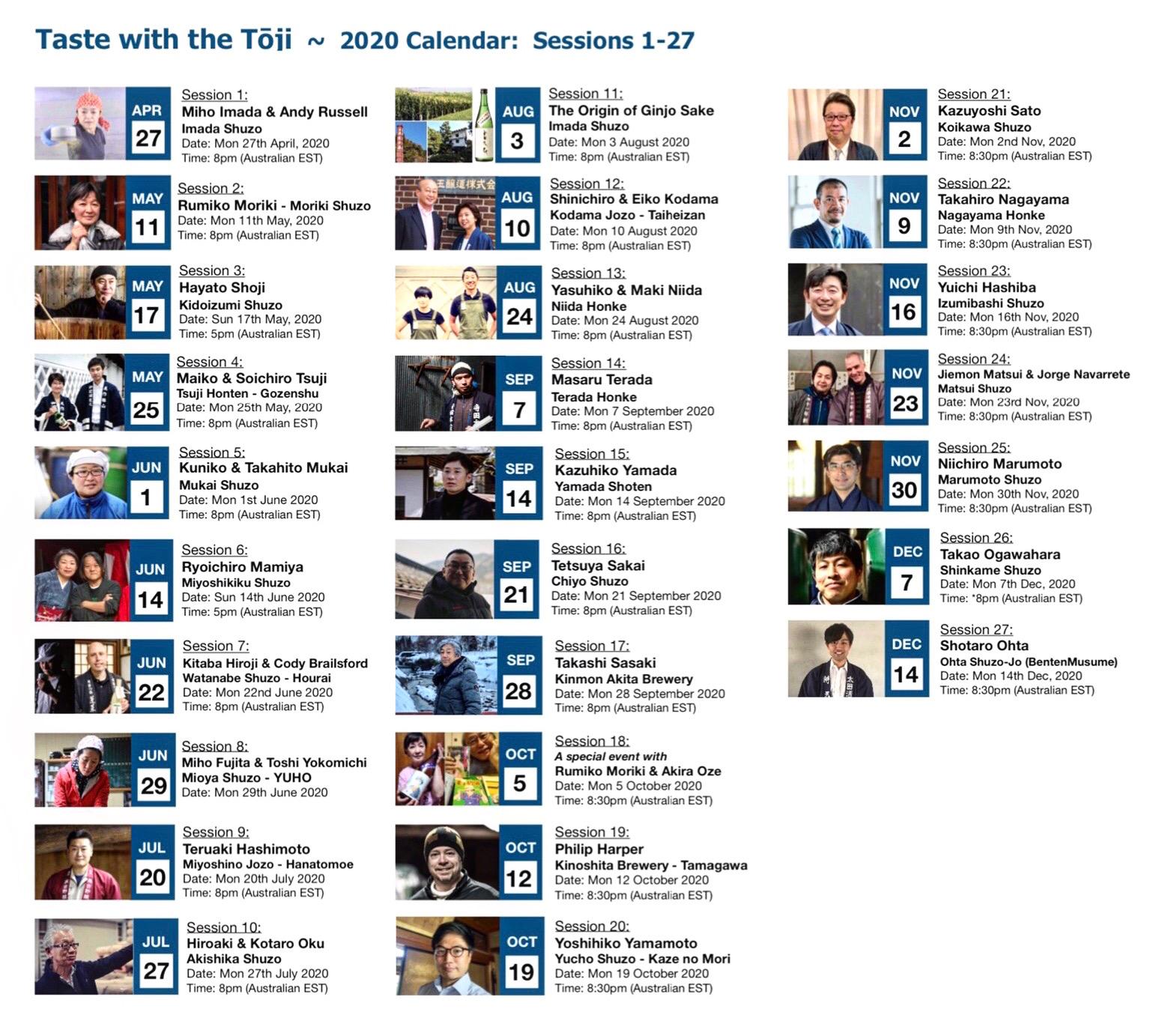 TWTT 2020 calendar